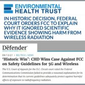 ניצחון בתביעה - FCC לא עדכן תקנים והתעלם מנזקי קרינה, כולל דור 5 (5G)